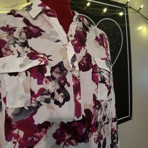 White House / Black Market Silk Floral Blouse